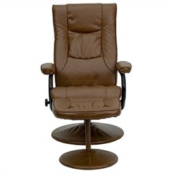 Recliner and Ottoman in Brown with Base