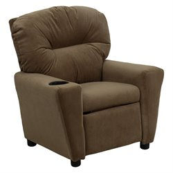 Flash Furniture Kids Recliner in Brown with Cup Holder