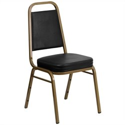 Flash Furniture Hercules Series Stacking Banquet Chair in Black and Gold