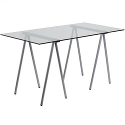 Flash Furniture Glass Computer Desk with Silver Frame