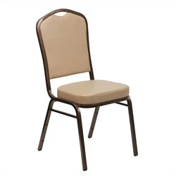 Flash Furniture Hercules Crown Back Stacking Banquet Chair in Tan
