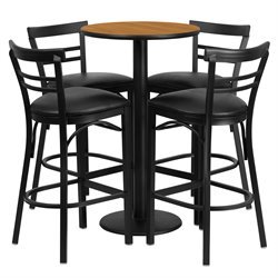 Flash Furniture 5 Piece Round Table Set in Natural and Black