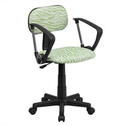 Green and White Zebra Print Computer Office Chair
