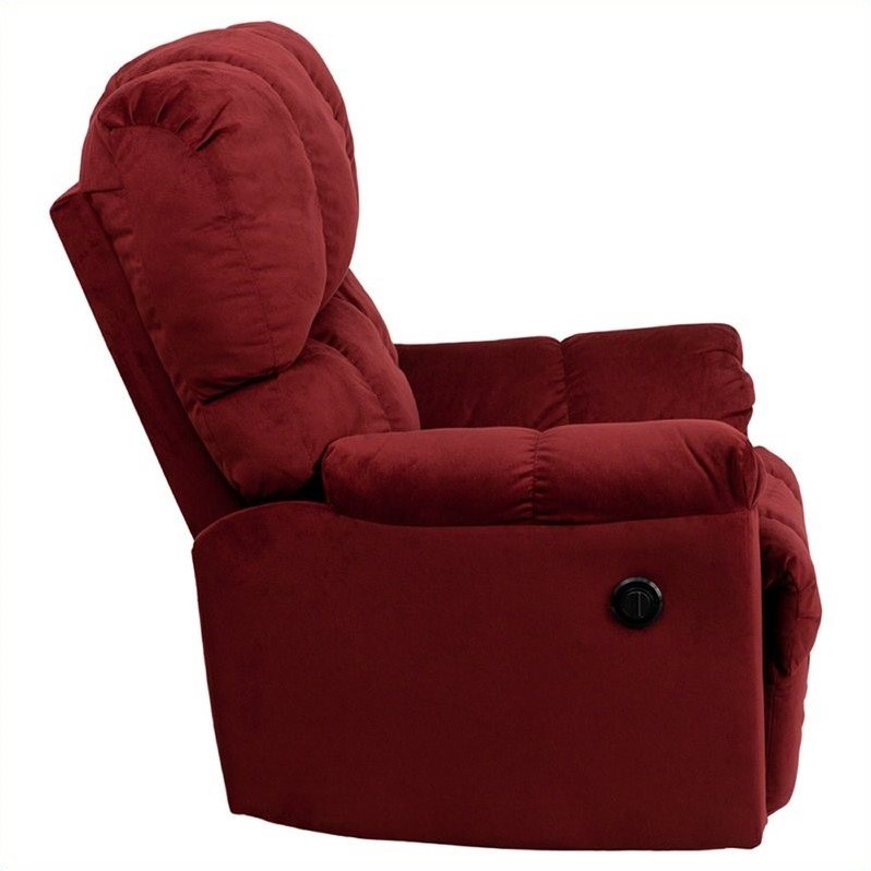 Flash Furniture Contemporary Top Hat Microfiber Power Recliner in Red