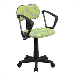 Flash Furniture Swirl Print Computer Chair with Arms in Green