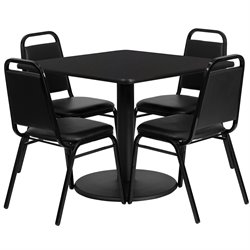 5 Piece Restaurant Dining Set in Black