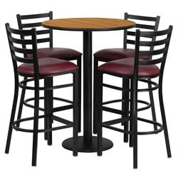 Flash Furniture 5 Piece Round Laminate Table Set in Natural and Black
