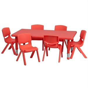 7 Piece Rectangular Activity Table Set in Red