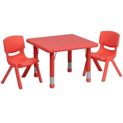 Flash Furniture 3 Piece Square Adjustable Activity Table Set in Red