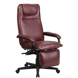 High Back Leather Reclining Office Chair in Burgundy