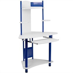 Flash Furniture Corner Computer Desk with Hutch in Blue