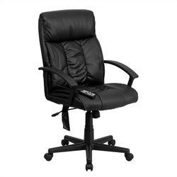 Flash Furniture High Back Massaging Leather Office Chair in Black