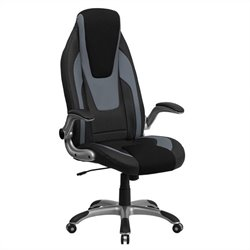 Flash Furniture High Back Vinyl Office Chair in Black and Gray