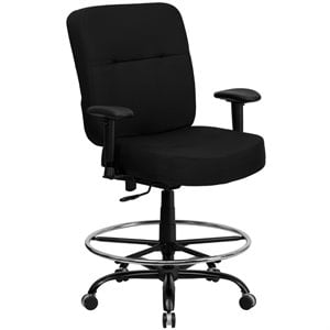 Fabric Drafting Chair with Arms in Black