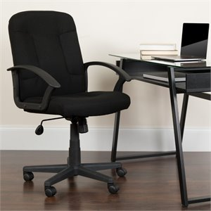 Mid Back Office Chair with Nylon Arms in Black
