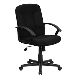 Flash Furniture Mid Back Chair with Nylon Arms in Black