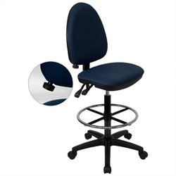 Flash Furniture Mid-Back Drafting Stool in Navy Blue