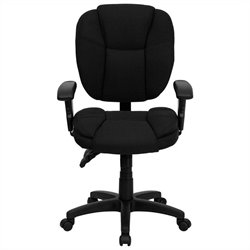 Flash Furniture Mid Back Fabric Ergonomic Task Office Chair in Black