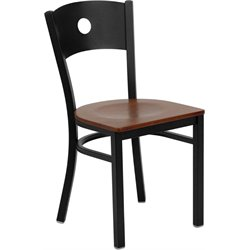 Flash Furniture Hercules Circle Back Metal Dining Chair in Cherry