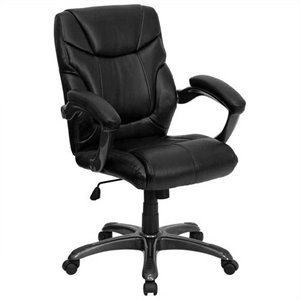 Mid-Back Leather Overstuffed Office Chair in Black