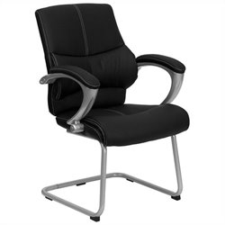 Executive Side Office Guest Chair with Black Leather