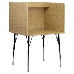 Study Carrel with Adjustable Legs and Top Shelf in Oak