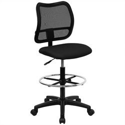 Flash Furniture Mid Back Mesh Drafting Stool with Black Fabric Seat