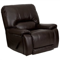 Flash Furniture Overstuffed Leather Lever Rocker Recliner in Brown