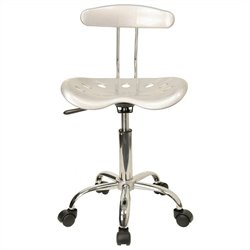 Flash Furniture Vibrant Computer Task Chair Seat in Silver and Chrome