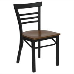 Flash Furniture Hercules Black Ladder Back Dining Chair in Cherry