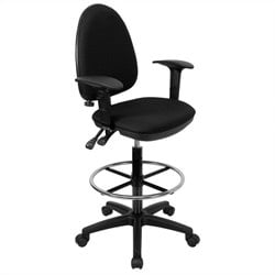 Flash Furniture Mid-Back Drafting Stool with Arms in Black