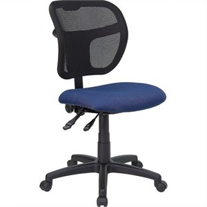 Mid-Back Mesh Office Chair with Navy Blue Fabric Seat
