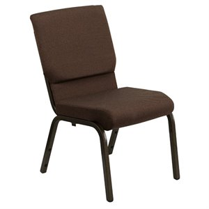 Fabric Church Stacking Chair in Brown and Goldvein