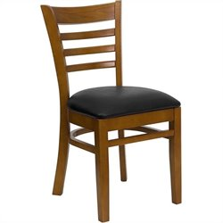 Flash Furniture Hercules Ladder Back Dining Chair in Cherry and Black