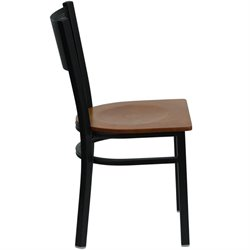 Black Grid Back Metal Dining Chair in Cherry
