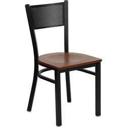 Flash Furniture Hercules Black Grid Back Metal Dining Chair in Cherry