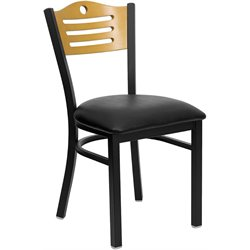 Flash Furniture Hercules Black Slat Back Metal Dining Chair in Natural