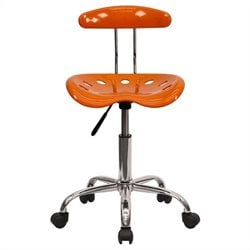 Flash Furniture Vibrant Computer Task Chair Seat in Orange and Chrome