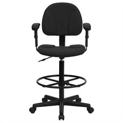 Flash Furniture Patterned Ergonomic Drafting Stool in Black with Arms