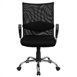 Flash Furniture Mid Back Managers Chair with Padded Seat in Black