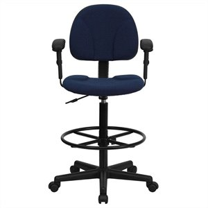Patterned Ergonomic Drafting Chair in Blue with Arms