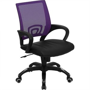Mid Back Mesh Office Chair in Purple with Black Seat