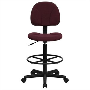 Patterned Ergonomic Drafting Chair in Burgundy