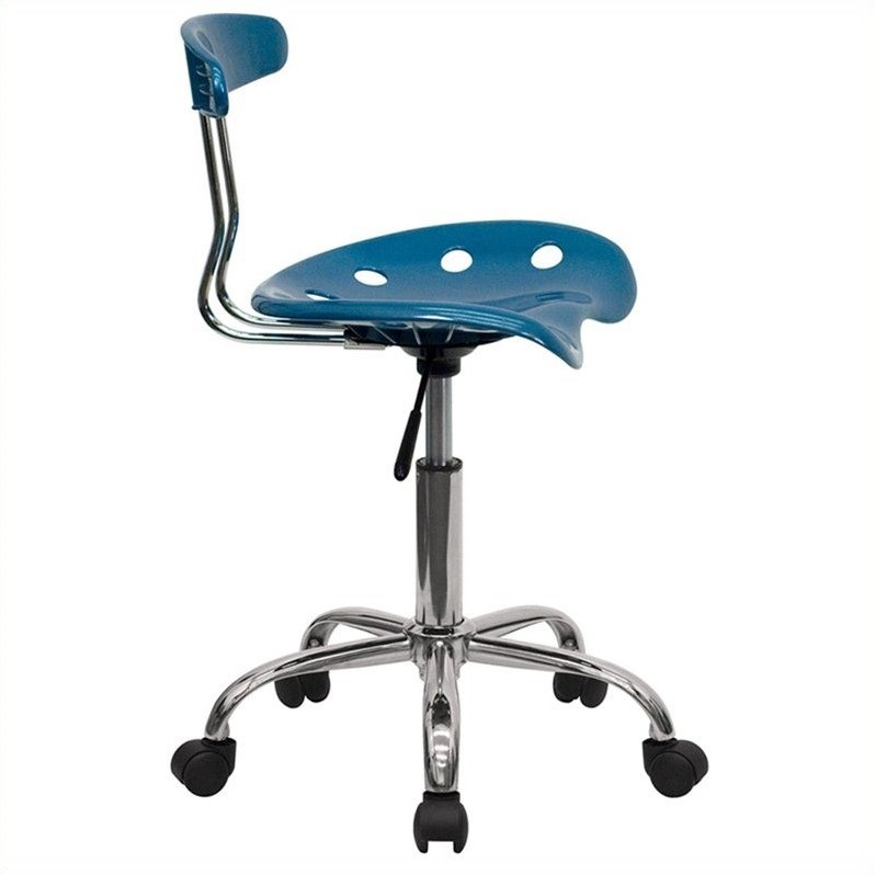 Vibrant Blue/Chrome Task Chair w/Tractor Seat