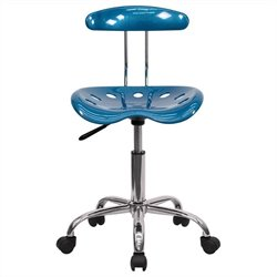 Flash Furniture Vibrant Computer Task Chair Seat in Blue and Chrome