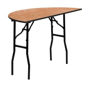 Half Round Wood Folding Banquet Table in Black