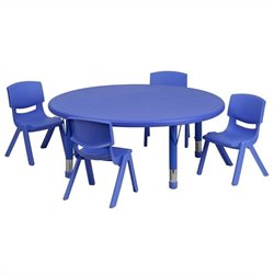 5 Piece Round Plastic Activity Table Set in Blue