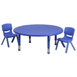 3 Piece Round Adjustable Table Set in Blue