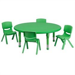 5 Piece Round Adjustable Table Set in Green