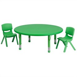 Flash Furniture 3 Piece Round Adjustable Table Set in Green
